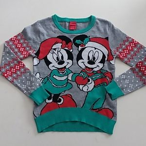 Disney medium 7/8 Mickey Minnie Christmas sweater